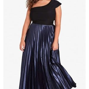 New City Chic Rosa One Shoulder Pleat Maxi Dress